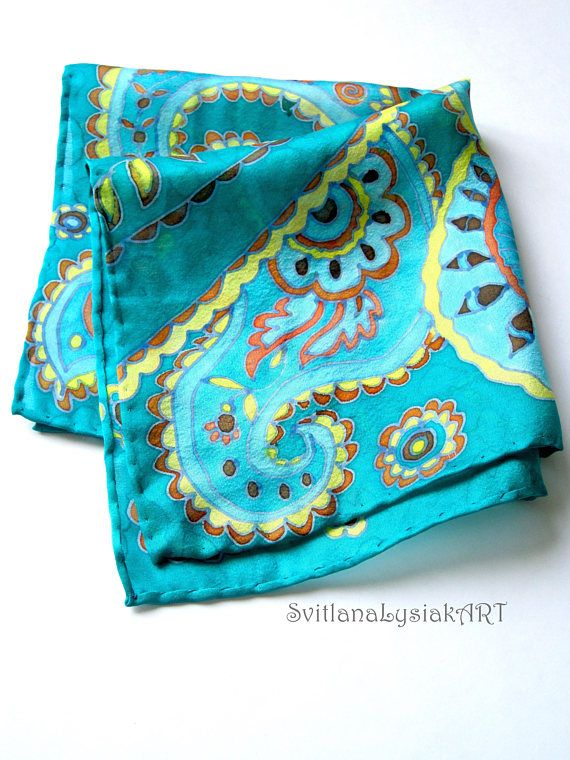 Emerald hanky Silk pocket square Hand painted hankies Gift for father Gift for man Silk handkerchief Batik Turquoise hanky Anniversary gift Wedding silk hanky Paisley hankies Silk pocket scarf Fashion silk hanky Size: 13x13 inches(34x34cm) Hand dyed silk pocket square with paisley