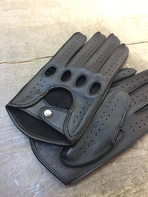 Deerskin leather driving gloves/elegant style/driving gloves/ gift for him black gloves/handsewn manually with black stitching/driving glove