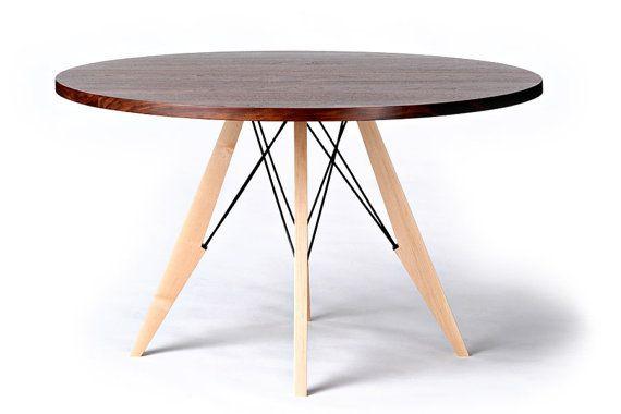 48 ronde Dining tabel in walnoot esdoorn & staal door StyloFurniture