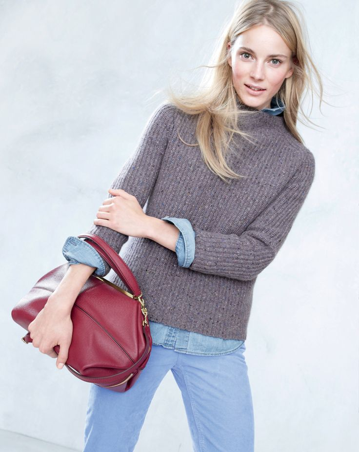 J.Crew Collection Back Zip sweater, Keeper chambray shirt and the Hughes satchel.