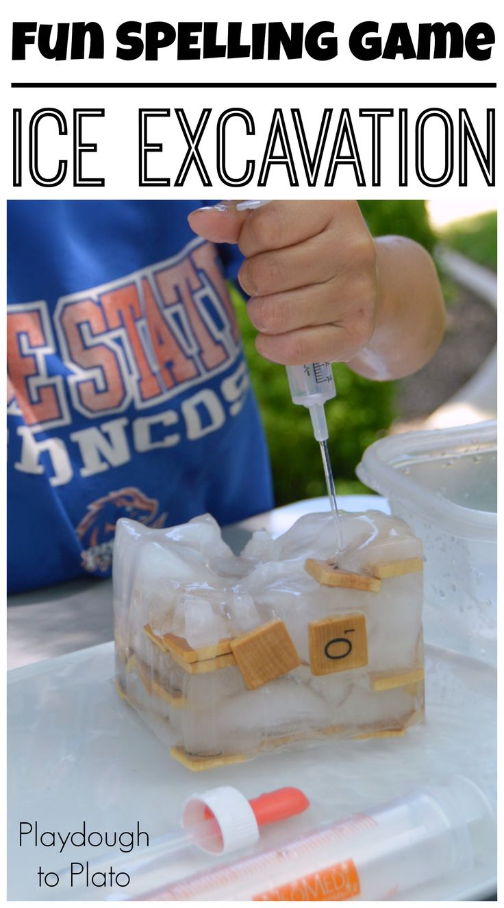Super fun spelling activity. Make a spelling ice excavation!! {Playdough to Plato}