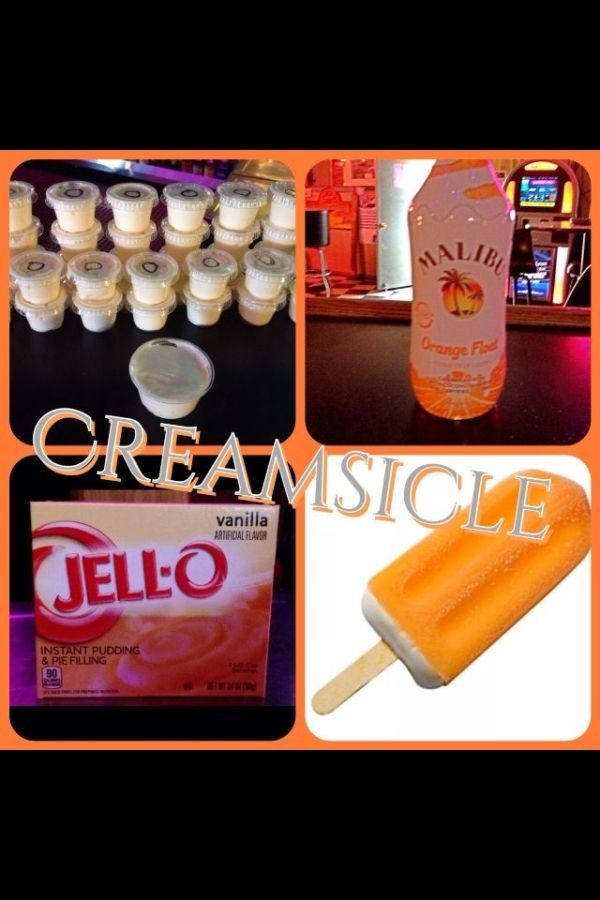 Creamsicle Pudding Shots 1 small Pkg. vanilla instant pudding 3/4 Cup Milk 3/4 Cup Malibu Orange Float Rum 8oz tub Cool Whip Directions 1. Whisk together the milk, liquor and instant pudding mix in a bowl until combined. 2. Add cool whip a little at a time with whisk. 3.Spoon the pudding mixture into shot glasses, disposable 'party shot' cups or 1 or 2 ounce cups with lids. Place in freezer for at least 2 hours. by jo
