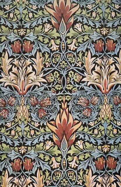 William Morris wallpaper & textile design | Snakeshead printed textile design 1876