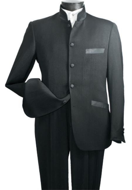 Men's High Fashion 2-Piece Elegant Mandarin Collar Suit Black | MensITALY  Price: US $149
