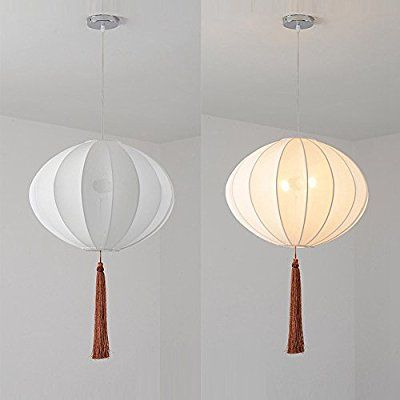 New OOEOE Chinese-Style White Pumpkin Lanterns Restaurant Ceiling Pendant Light Dining Room Balcony Hanging Lamp Round Ball Pastoral Bedroom Chandelier (A)