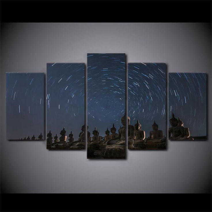 "5 Panel ""Starry Sky"" Buddha Canvas Painting"
