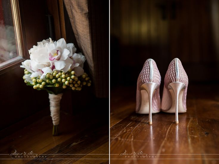 Flowers and Shoes for a Serenity Cottage Wedding and Cobble Beach Reception.