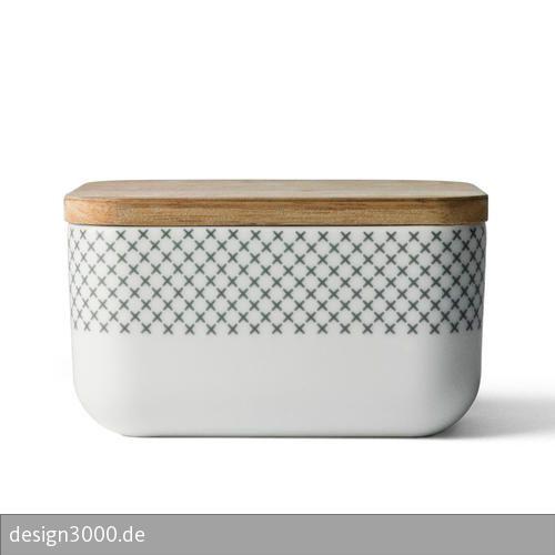 Butterdose Grey Stitches von Menu - Dose mit Kreuzstich-Dekor und Deckel.