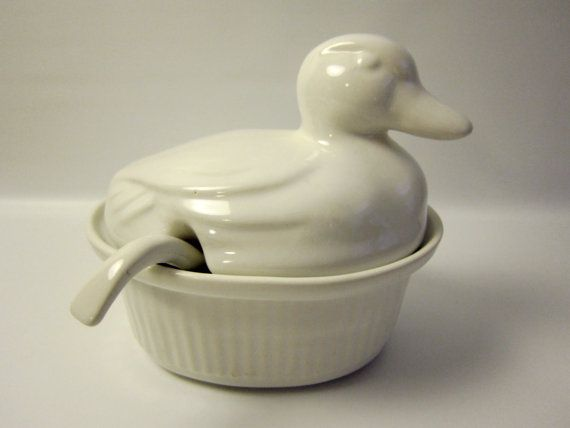 Vintage California Pottery Duck Tureen Ovenproof by FoxLaneVintage, $22.00