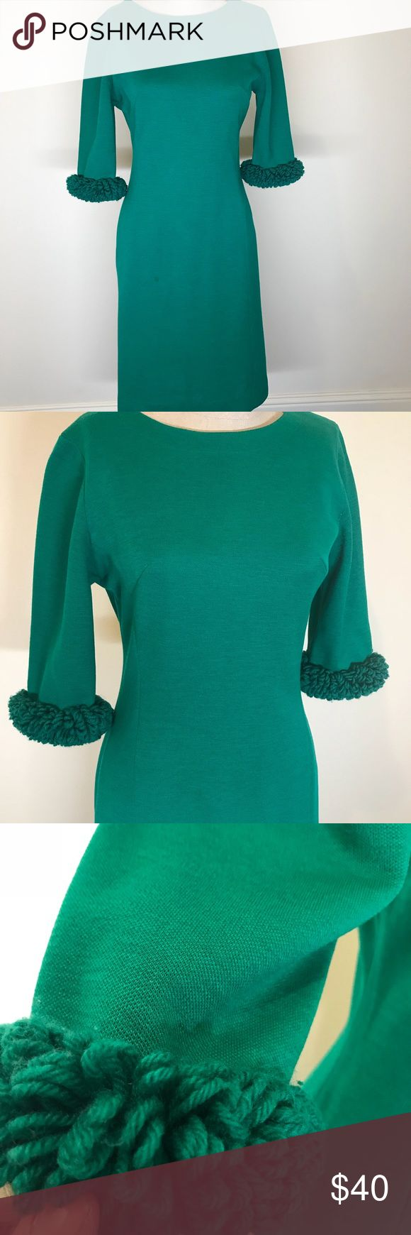 Fabulous VTG sweater dress! Great fabric arm cuffs with this cute 60s form fitting dress. Color of green is beautiful. Would look Great with a multi colored scarf and a fabulous chunky pin. Vintage Dresses Midi