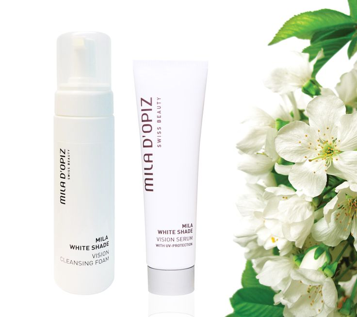 Mila d'Opiz - White Shade Vision Cleansing Foam & Vision Serum with UV-Protection. Optimal skin-brightening care, helps to reduce age spots & pigmentation disorders.  Soothing & Calming.