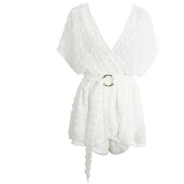 White Sheer Pom Pom Polka Dots Deep V-Neck Rompers ($55) ❤ liked on Polyvore featuring jumpsuits, rompers, pom pom romper, polka dot romper, deep v neck romper, playsuit romper and sexy white romper