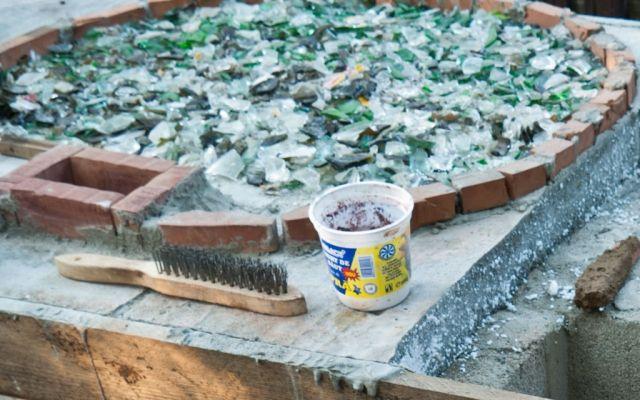 pizzaofen-outdoor bauen glas scherben basis rund