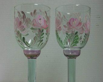 Glass Wine Glasses Hand Painted Scandinavian by FolkArtByNancy
