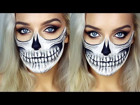 half skull exposed spine halloween makeup tutorial youtube - Halloween Skull Face Paint Ideas