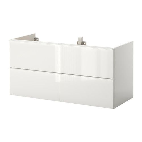 IKEA - GODMORGON, Wash-stand with 4 drawers, high-gloss white, , 10 year guarantee. Read about the terms in the guarantee brochure.Smooth-running drawers with pull-out stop.You can easily customise the size of the drawer by moving the divider.You can easily see and reach your things because the drawers pull out fully.Drawers made of solid wood, with bottom in scratch-resistant melamine.