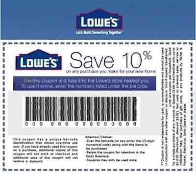 ONE (1x) Lowes 10% OFF Printable-Coupon - exp 1/15/17 - Fast Email!!