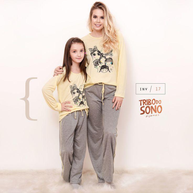 Mãe e filha slepwear.