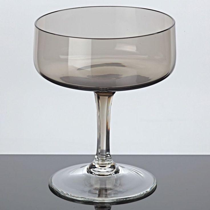 1 Sektglas Rauchglas Driburg Sektschale Kristallglas Vintage braun 50er 60er