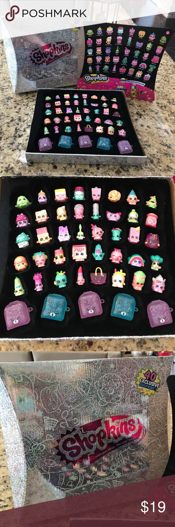 Shopkins 40 piece exclusive set in box This is a box set of 40 exclusive Shopkins in the original box!! My daughter got these as a gift for Christmas and she never played with them so they are brand new without tags! Pictures should show everything but let me know if you need more details:) Shopkins Other