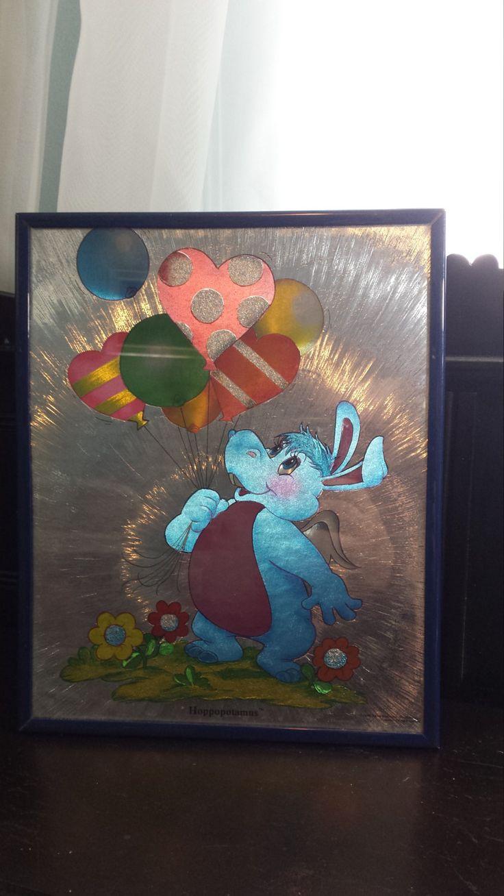 1120 best stuff to buy images on pinterest vintage toys etsy wuzzles disney hoppopotamus framed 80s vintage tin print wall art cartoon home decor blue by vintagetoynerd
