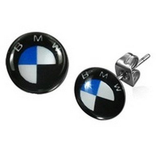 """Timeless Treasures - Men's Stainless Steel BMW Car Logo Stud Earrings - 8 mm Diameter (.31""""). Ships from USA. 8 mm Diameter (.31""""). 100% Satisfaction Guaranteed. FREE GIFT BAG WITH EVERY ORDER ! (Timeless Treasures Imprinted)."""