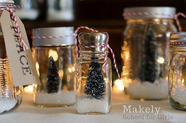Christmas Tree repurposed jar snow globes