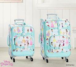 Mackenzie Aqua Disney Princess Hard Sided Luggage   Pottery Barn Kids
