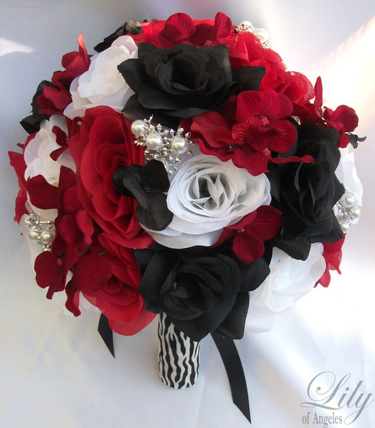 Red And White Wedding Decoration Ideas   17pcs Wedding Bridal Bouquet Set Decoration Package Silk Flowers RED ...