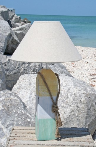 Crustaceans Designs Coastal Inspired   Buoy Lamp, Yellow, White, Aqua  $67.00 Http:
