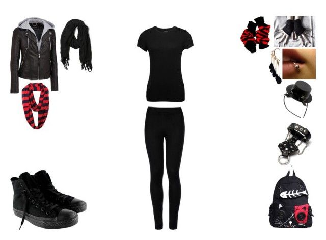 emo girl style .2. by mayleneholm on Polyvore featuring Orobos, Wilsons Leather, Wolford, Converse, Boohoo, Love Quotes Scarves and dELiA*s
