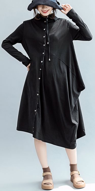 Boutique Black Fall Dress Casual Turn Down Collar Pockets Gown
