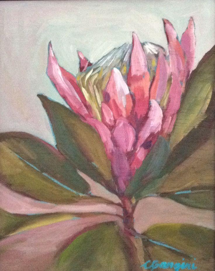 CGangini Art 'Protea no 2' oil painting, Maui Art