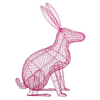 pink wire rabbit // Weird, but I like it. Might just have to put him in my office!