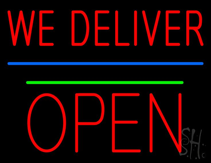 We Deliver Open Block Green Line Neon Sign 24 Tall x 31 Wide x 3 Deep, is 100% Handcrafted with Real Glass Tube Neon Sign. !!! Made in USA !!!  Colors on the sign are Red, Green and Blue. We Deliver Open Block Green Line Neon Sign is high impact, eye catching, real glass tube neon sign. This characteristic glow can attract customers like nothing else, virtually burning your identity into the minds of potential and future customers.
