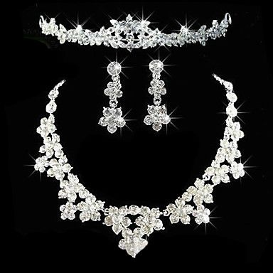 Alloy With Elegant Rhinestone Wedding Jewelry Set Including Tiara,Necklace,Earrings – USD $ 39.99
