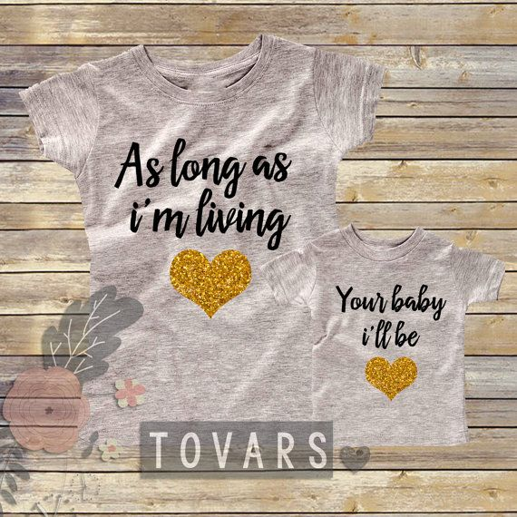 As Long as I'm Living Your Baby i'll Be Black and Glitter Gold- Grey glitter shirts- cute matching mommy and me outfit- mother and daughter