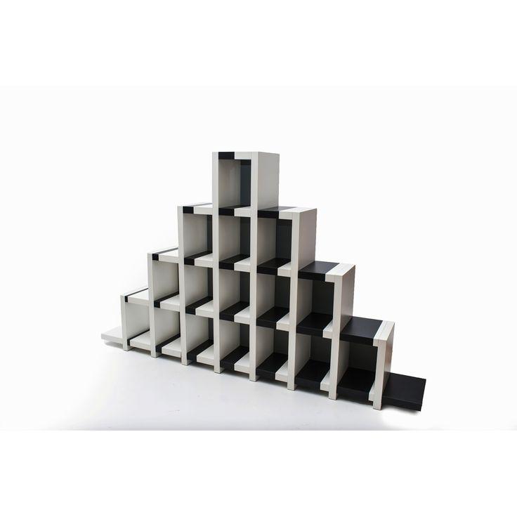 Libreria optical Evoluta by Marcello Morandini per Cleto Munari made in Italy 2009 bianco e nero in legno laccato