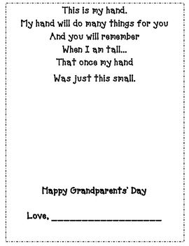 Use this product to capture your students' handprints for grandparents.Please…