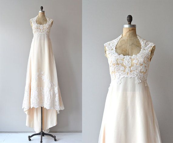 Myth and Poetry wedding gown • vintage 1970s wedding dress • lace applique 70s wedding gown on Etsy, ฿28,911.56