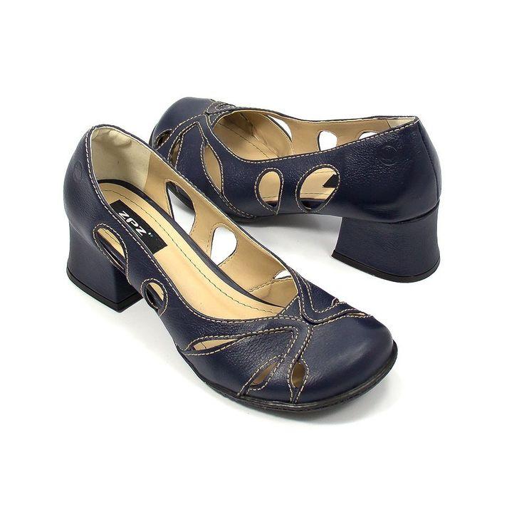 Sapato retrô artsy em couro Marinho / Costura Bege