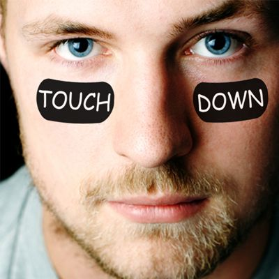 Personalize your ownl pre-cut eye black peel off temporary tattoos for football parties, tailgating, & games! Touch down!