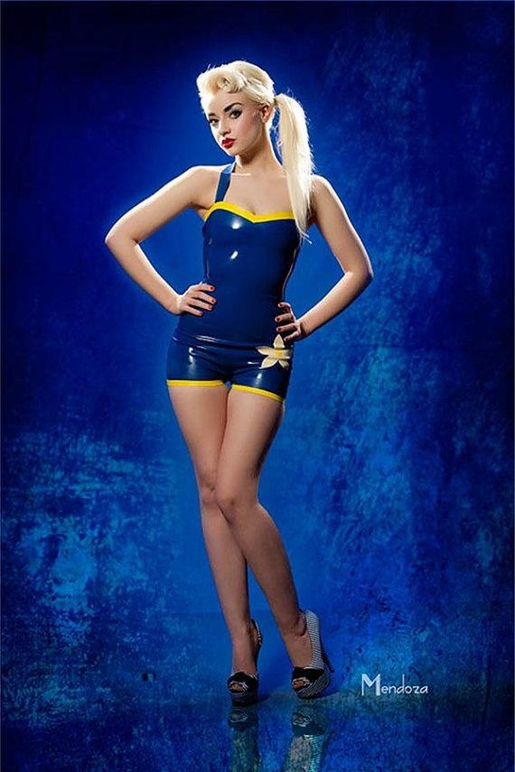 Addidas? Latex Vintage Style Swimsuit model SINderella ...