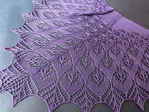 Violet Silk Lace Shawl. Hand Knitting. Made To Order. Knitted