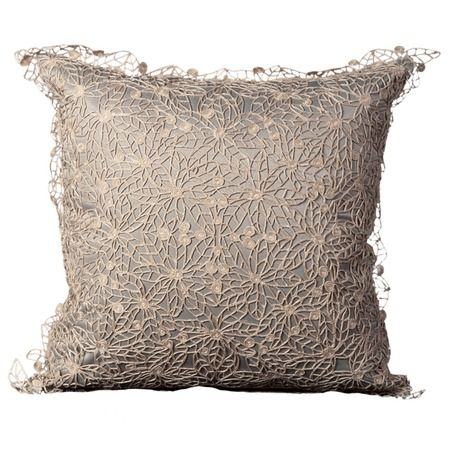 Details...lacey applique over solid color pillow