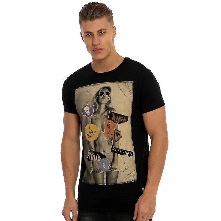 Religion Band Stickers T-Shirt | Black | 37BRG05 | REEM