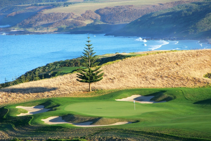 Designed by David Harman, the 18 hole, par-72 golf course at Kauri Cliffs New Zealand has played host to PGA events. Keen golfers...get in line! #golf #newzealand #travel