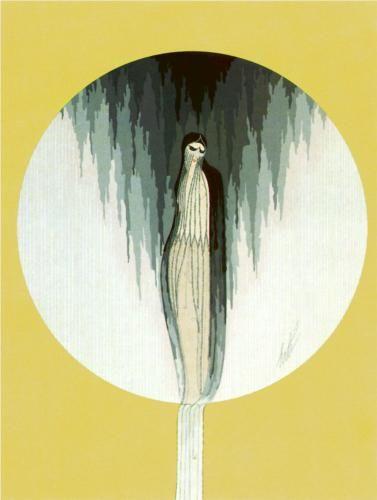 Erte – Emotions, Sadness.  Art Deco, symbolic painting.
