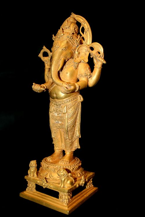 (Indonesia) Balinese Gold figure of Ganesha, Bali. circa 900 CE to 1300 CE.