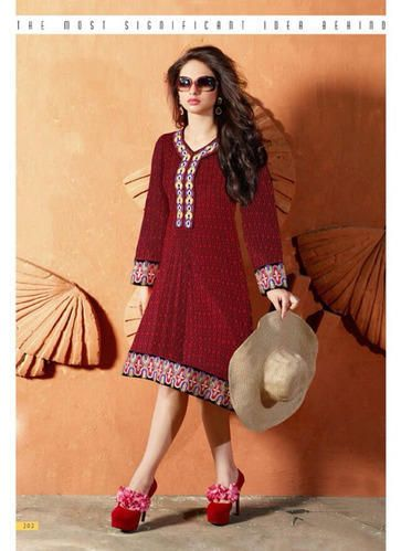 """Designer Wear Georgette Kurti with Santoon lining in Maroon color with fine embroidery work en-crafted. Length: 38"""" and Size: L, XL"""
